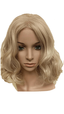 synthetic wig topper Light blond wavy hair