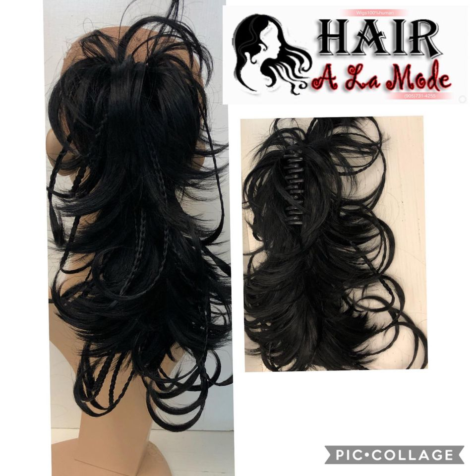 Adjustable synthetic clips ponytail
